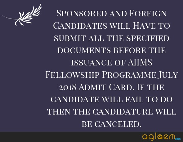 AIIMS Fellowship Programme July 2018 Admit Card   Download Here