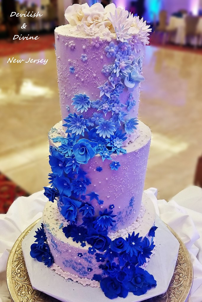 Blue Wedding Cake   NJ Wedding Cakes   Devilish   Divine Pastry and         Blue Wedding Cake   by Devilish and Divine