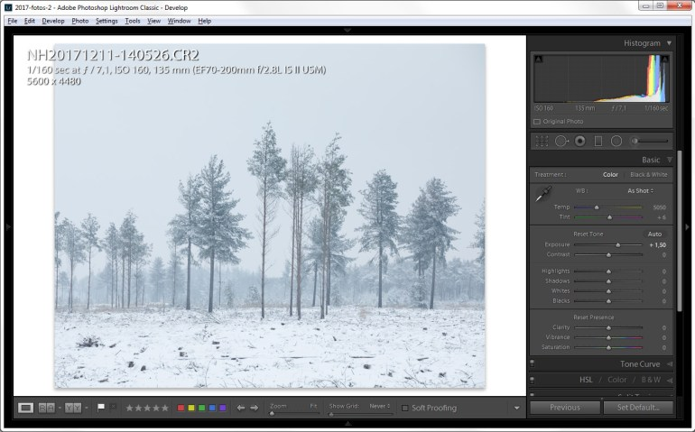 sneeuwfoto's bewerken in Lightroom