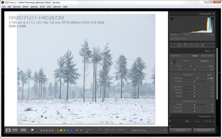 sneeuwfoto's bewerken in Lightroom