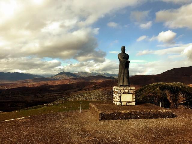 Warrior-monk statue in meteora