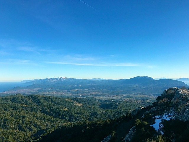 South view from the top of Mount Xiron on north evia