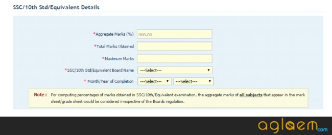10th Class Details to fill in CAT Registration Form 2019