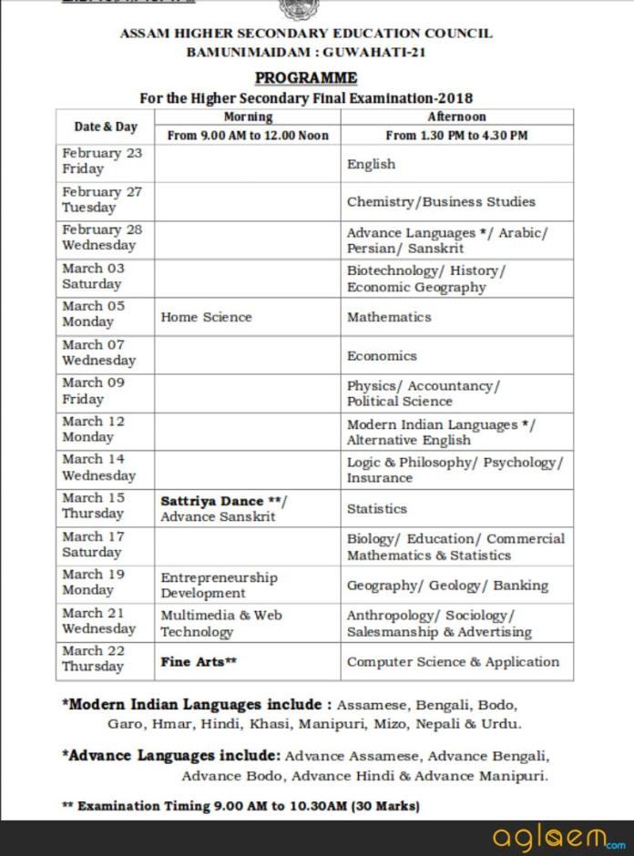 HS Time Table 2018 Assam