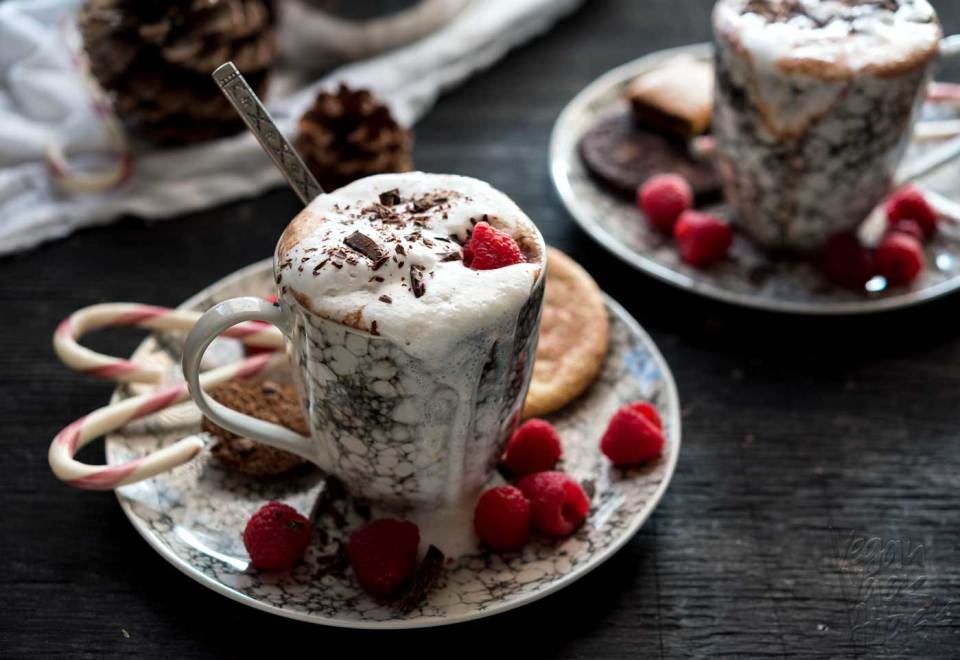 If you're looking for the perfect, warming beverage for cool, winter nights, look no further than this dairy-free, sugar-free Raspberry Hot Cocoa! #vegan #lenoxusa #healthy #soyfree