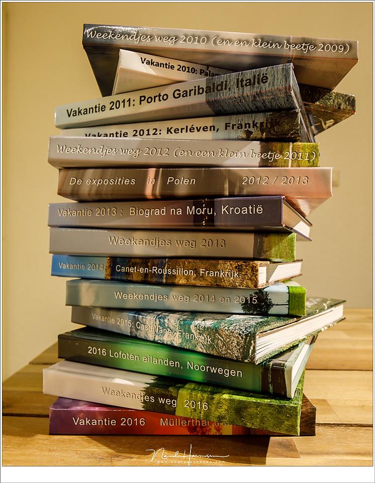 Onze albums vanaf 2010. Boeken vol herinneringen en mooie foto's. En het staat bovendien mooi in de boekenkast.