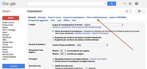 Creazione filtro Gmail