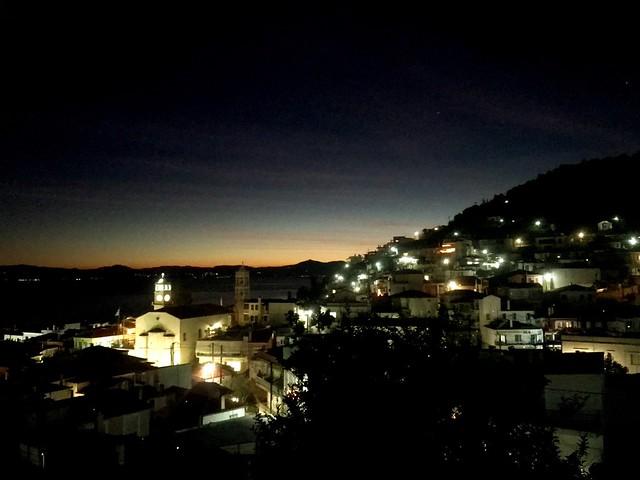 Lymni town on evia island by night