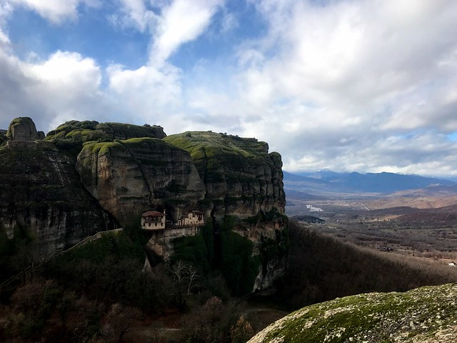 The Monastery of Ypapanti in meteora from the distance and extended view to the valley