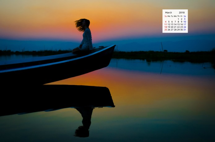Free download March 2018 Calendar Wallpaper Women sunset boat Inle Lake Myanmar