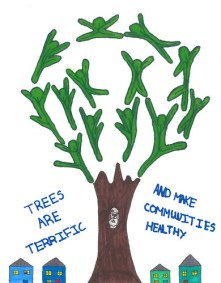 2018 winning Arbor Day poster by Overall first-place winner is Annah Landry from Carroll County