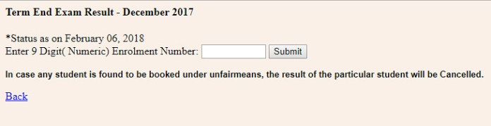 IGNOU Term End Examination Result December 2017