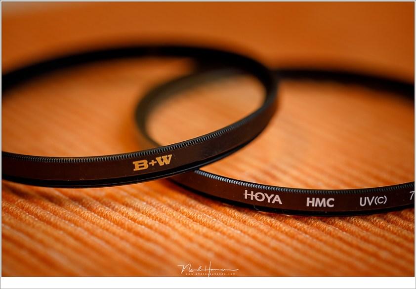 Een B+W en een Hoya UV filter. Kies voor een goede kwaliteit wanneer je er gebruik van wilt maken. Het nut van UV filters