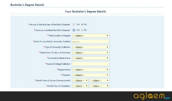 CAT Application Form - UG/ PG Details to Add