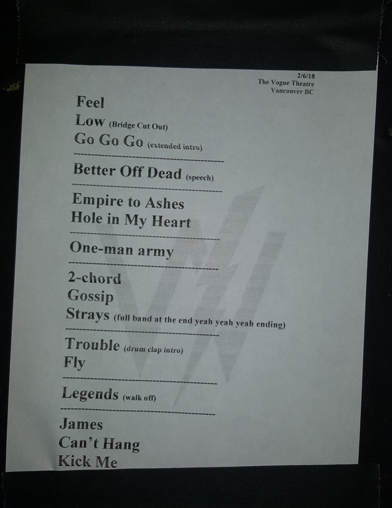 Sleeping with Sirens setlist from The Vogue Theatre in Vancouver, BC on February 6th, 2018