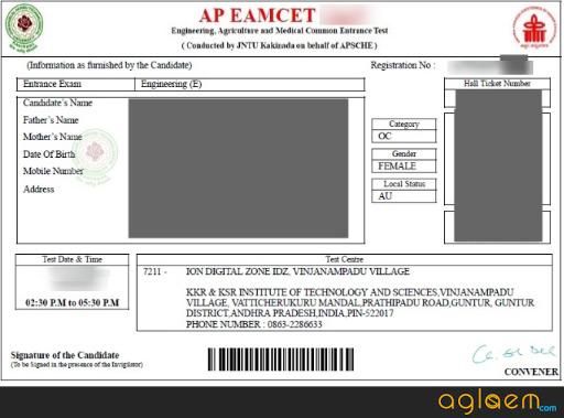 AP EAMCET 2020 Admit Card