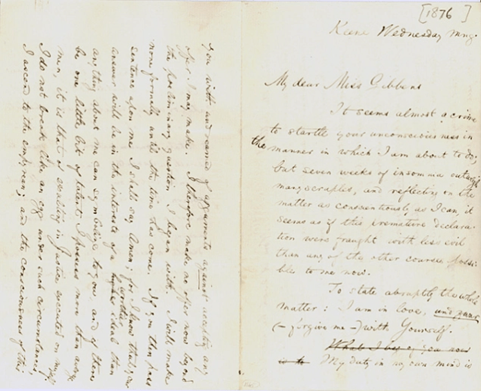 Carta de William James a Alicia Howe Gibbens en la que se puede leer