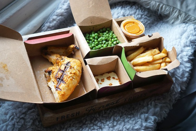 Gluten free Lemon & herbs grilled chicken, chips, grilled halloumi, macho peas and garlic piri piri sauce from Nando's | gluten free chicken and chips guide | London | UK