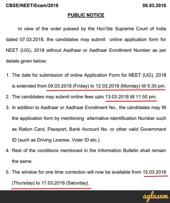 NEET 2018 Application Form: Last Date   12 March
