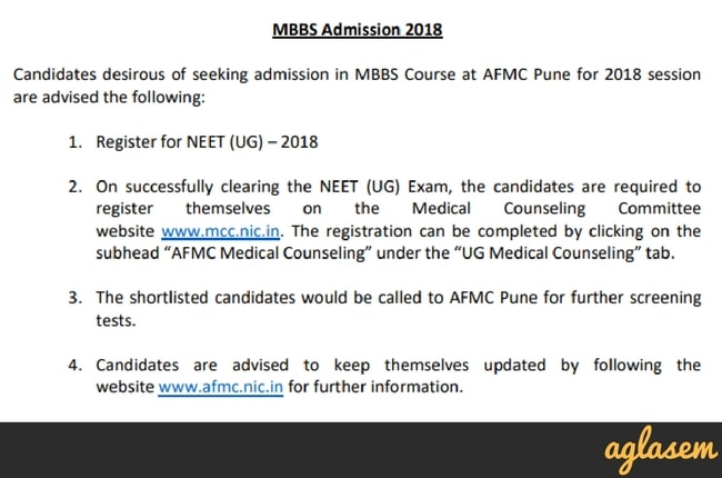 AFMC 2018: Application Form, Merit List, Cut Off, MBBS Admission