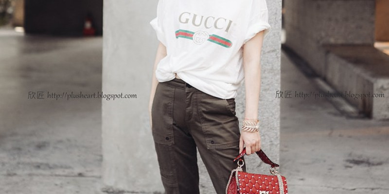 ▌Outfit ▌紅配綠其實:Gucci Logo-print T-shirt + Valentino Rockstud Shoulder Bag + Jimmy Choo亮片高跟鞋