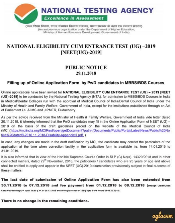 NEET 2019 Application Form - Apply Here | Last Date for NEET