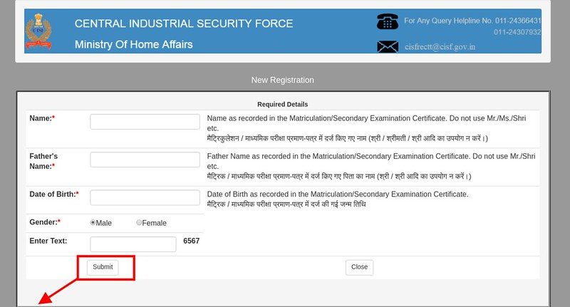 CISF Basic Registration Form