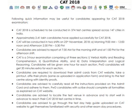 CAT 2018 Exam day rules