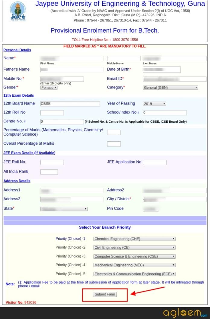 Jaypee Admission 2019 Application Form