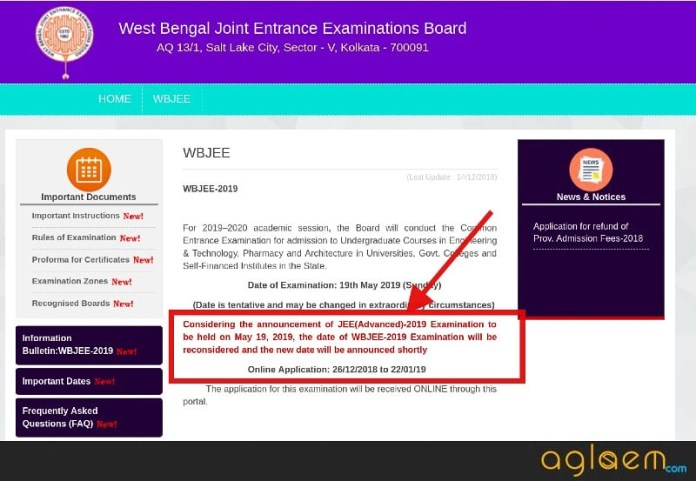 WBJEE 2019 exam dare