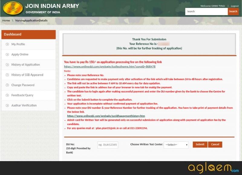 Indian Army BSc Nursing 2021 application fee