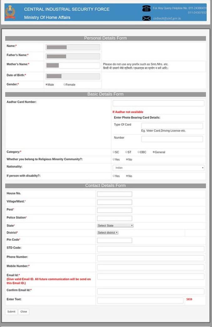 CISF Main Registration Form