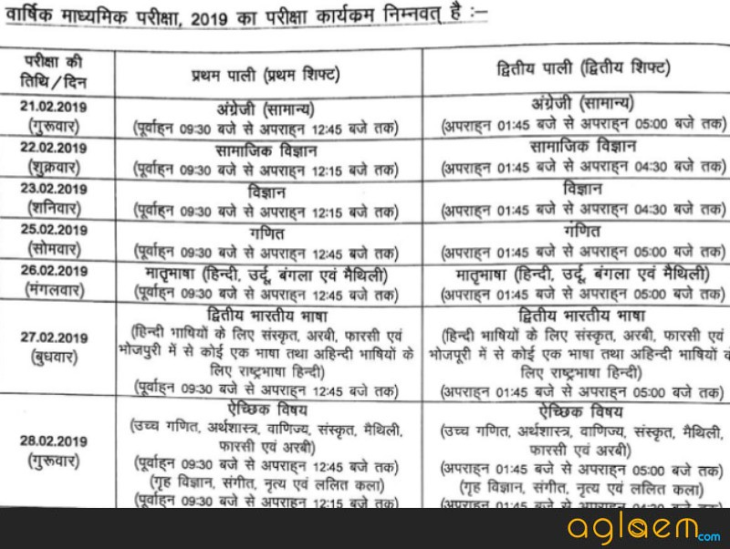 Bihar Board 10th Exam Date 2019