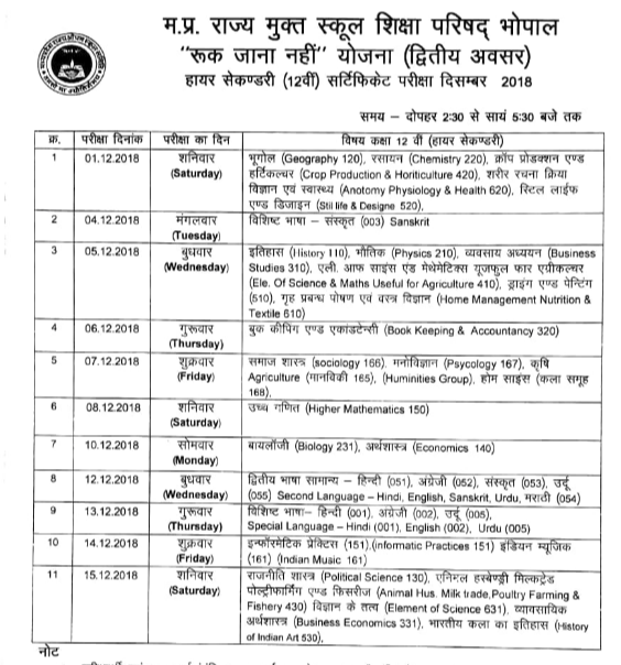 MPSOS Ruk Jana Nahi 12th Time Table December 2018