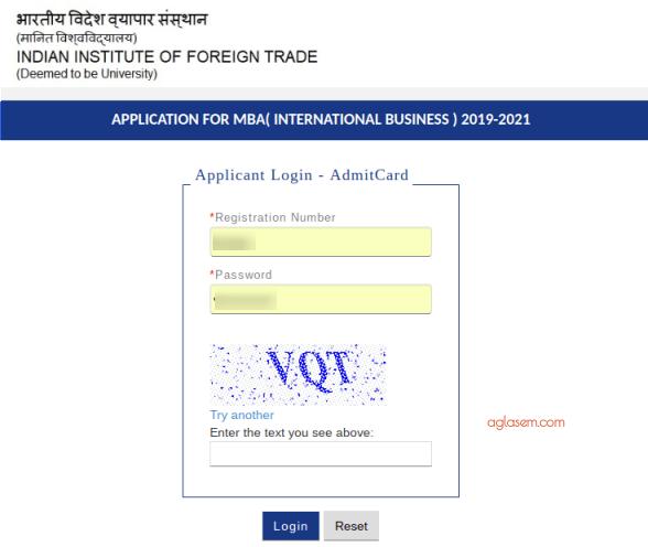IIFT 2020 Admit Card Login
