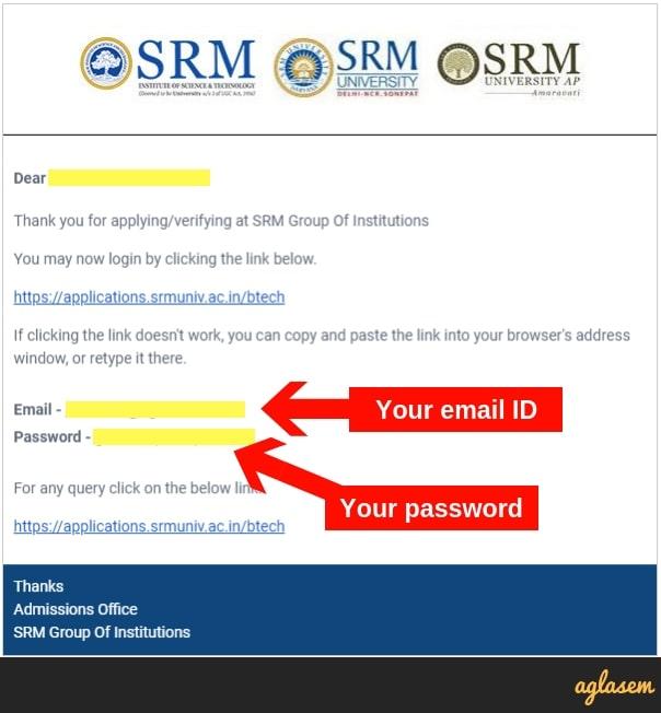 SRMJEEE 2019 Application Form Forgot Password