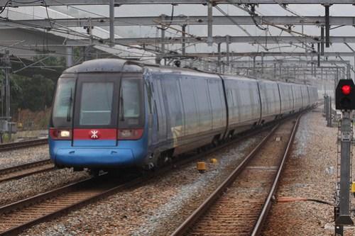 Hong Kong bound train runs through Sunny Bay station