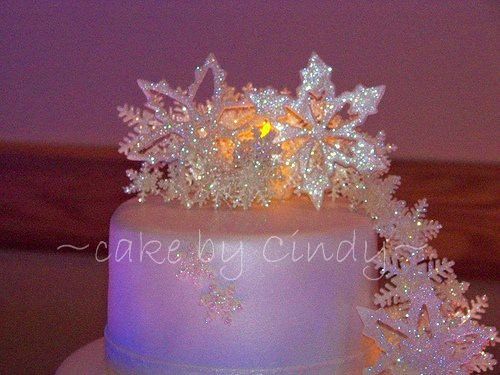 snowflake wedding cake close up   Not really a great photo b      Flickr     snowflake wedding cake close up   by cdgleason