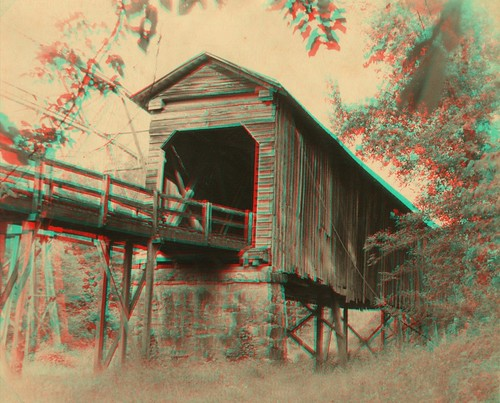 Long Cane Creek Bridge Sepia 1979 anaglyph