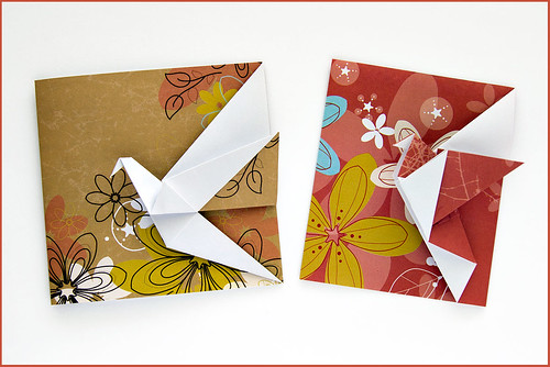 Origami Greeting Cards Crane Greeting Card By Didier