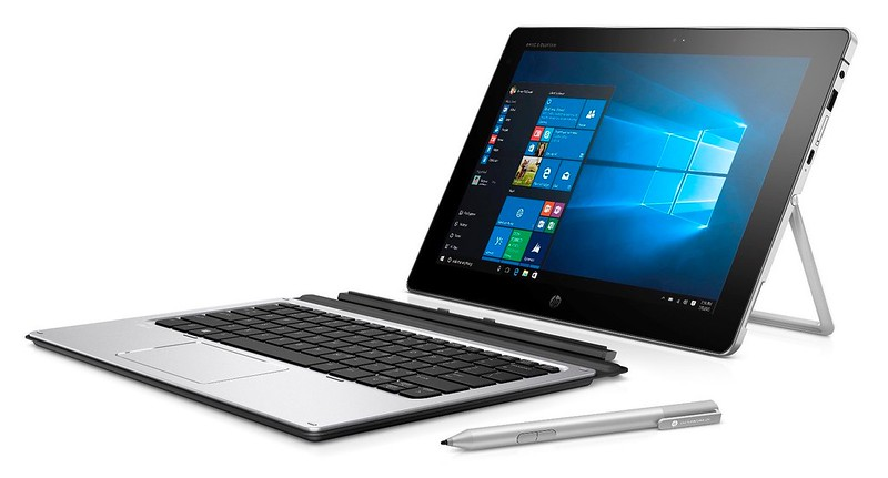 "SEE IMPORTANT *NOTES* HP Elite x2 1012 G1 (12"", OGS touch, Natural Silver) with Windows 10 screen, Catalog, detached, left facing with stylus"
