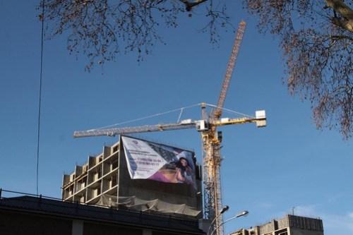 Tower cranes at work above Sochi