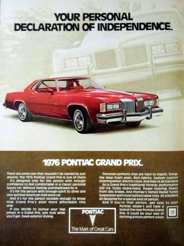 1976 pontiac cars » Vintage Automobile Advertising  1976 Pontiac Grand Prix         Flickr     Vintage Automobile Advertising  1976 Pontiac Grand Prix   Your Personal  Declaration of Independence