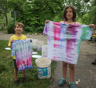 Campers with their tie-sye t-shirts   Tie-dyeing was a ...