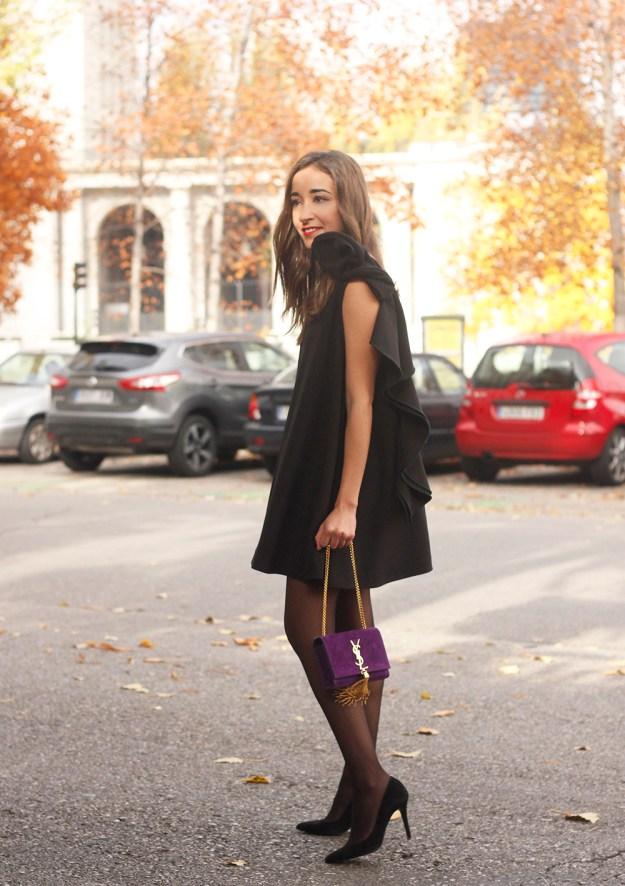 little black dress yves saint laurent bag accessories black heels outfit party look style09
