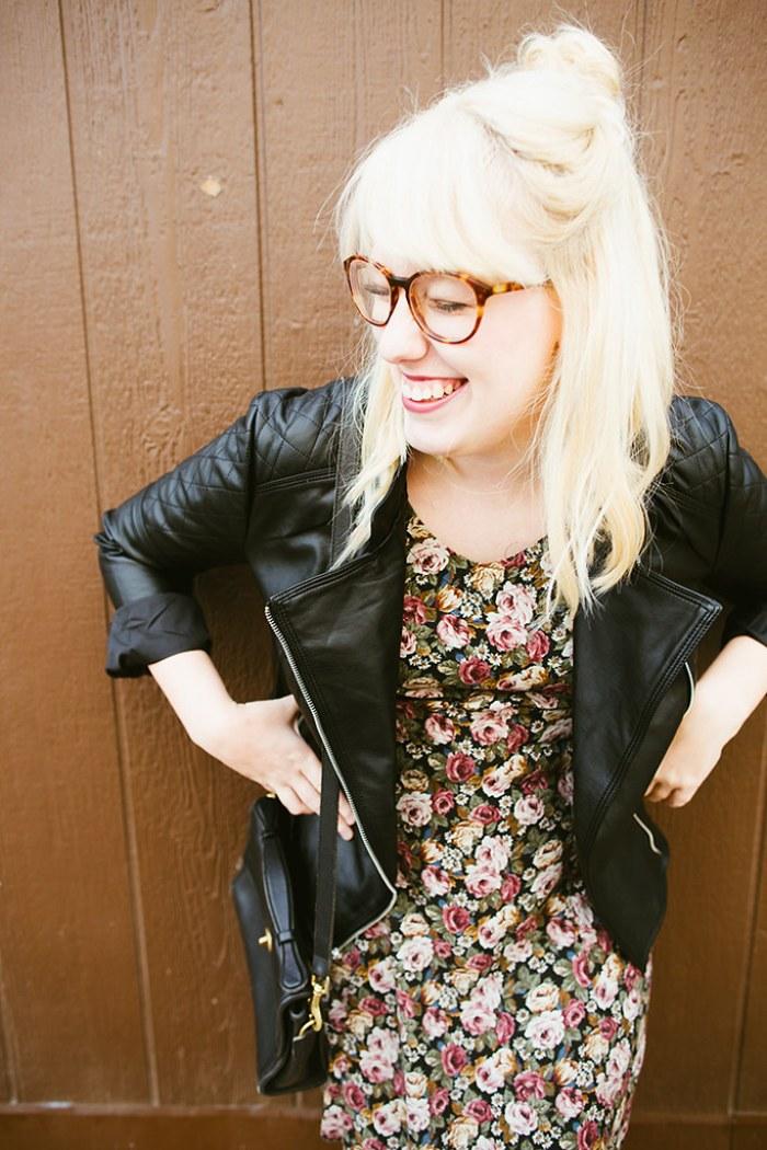 writes like a girl vintage floral dress bb dakota pierre moto jacket15