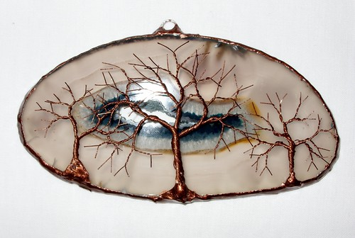Copper Wire Tree Of Life Metal Wall Art Sculpture On A Whi
