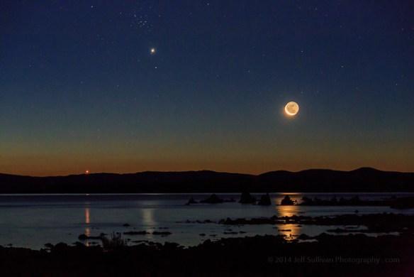 Venus Rising to Join Jupiter and Moon