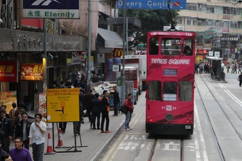 'Temporary traffic diversion' for road vehicles approaching the tram track relaying works