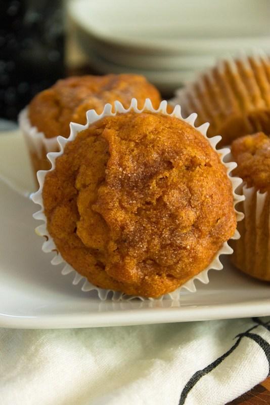 close up of a pumpkin muffin
